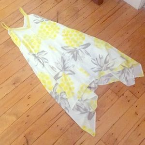 Pineapple print asymmetrical dress
